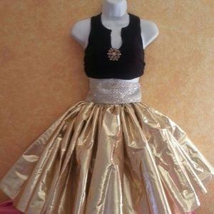 Sebrina Love / Sebrina Love Bridals Dresses - Custom Order Gold Lame' & Black Tutu Skirt Set